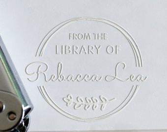 From the Desk of Custom Library Book Embosser Shiny Hand Held Personal Embosser
