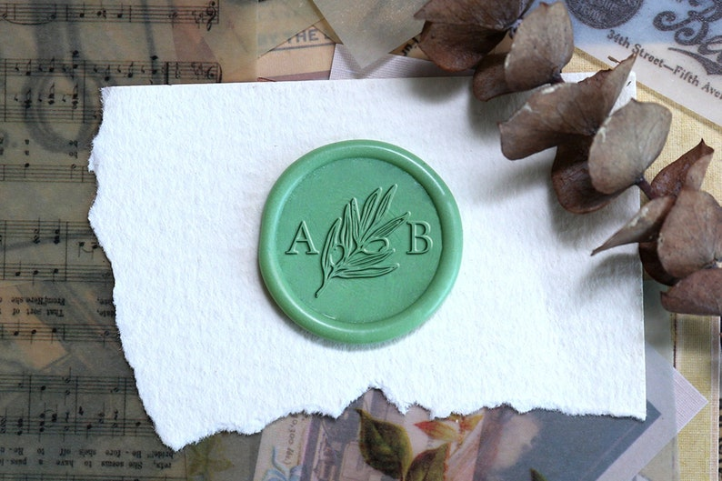 Custom Leaf Wax seal stamp with two initials Personalized wedding wax seal stamp,Wax stamp kit,wedding invitation gift set