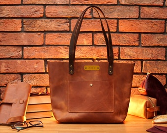 Leather Tote Bag, Personalized Leather Tote Bag with Zipper and Pockets Option, Custom Leather Handbag for Women, Shopper Bag for Her or Him