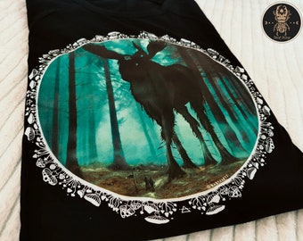 Creepy Moose Gothic Tee | Occult Art Witchy Shirts Vulture Culture Witchcore Aesthetic Goblincore Clothing Norse Pagan Pastel Goth clothing