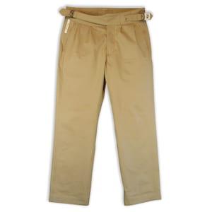 1940s Men's Clothing Gurkha-style mens trousers 1940s military retro color KAKI - BEIGE $228.49 AT vintagedancer.com