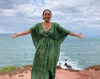 Green paisley pattern Kaftan, cover up, loungewear, beachwear,  bohemian, faux silk.Free size wrap around style fits  from Size 8 -14
