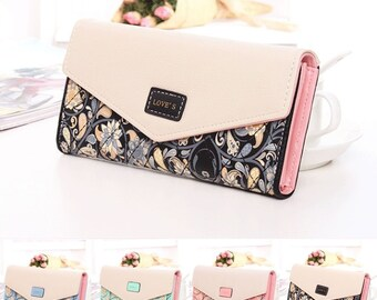 Womens Ladies Floral Envelope Purses Leather Long Handbag Bag Card Wallet UK