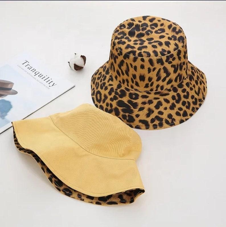 Bucket Hat Fisherman Hat Reversible Leopard Plain Pattern Unisex Fishing Cap Summer Hat