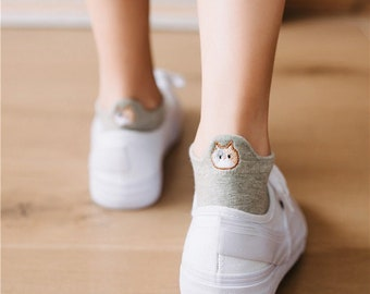 Ankle Socks Cat Embroidery Women Casual Socks Letterbox Gift Gift for her Friend Gift