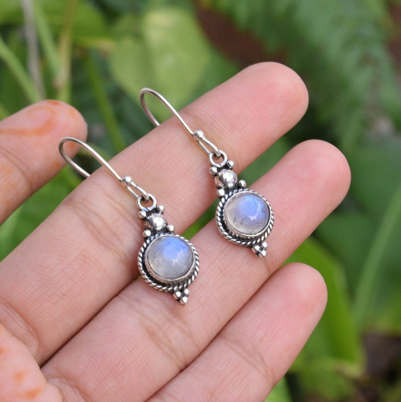 Christmas gift Gift For Mum Top Quality Natural Moonstone 925-Sterling Silver Earring Jewelry Natural Moonstone Silver Earrings