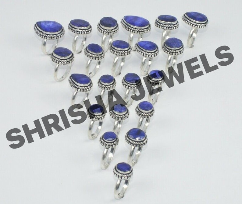 Wholesale Rings Lot Wholesale Lots Jewelry Bulk Rings Sale 925 Sterling Silver Plated 100/% Genuine Stone Ring Gift for Women /& Girls