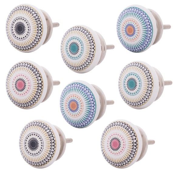 Möbelknöpfe Set 8 STK  Möbelgriffe Keramik  Griffe Möbelknopf  Punkte Weiß Bunt