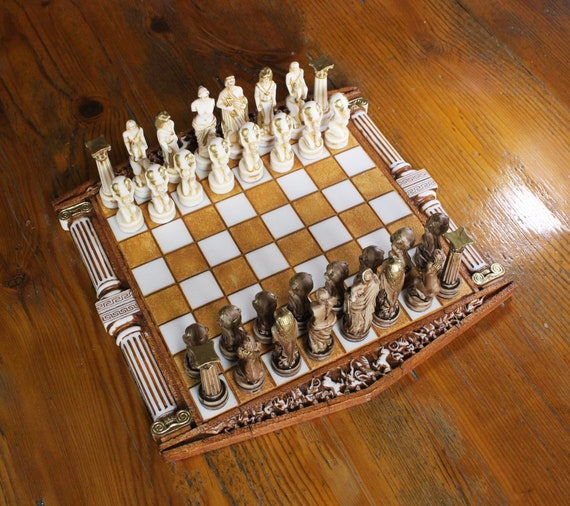 Handmade Chess Set Leonidas Archeology Gifts Chess Lover Gift  35cm-13.8in Chess Board Greek Mythology Chess Table 300 Spartan