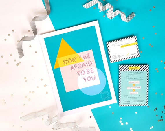 Motivational Scandi mid-century modern wall art print, inspiring quote, typographic geometrical minimalist poster, Don't be afraid to be you