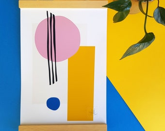 Abstract art, Lines and Circles/2 A4 A5 print, bright geometric shapes wall art Scandi modern minimalist home decor blue pink yellow stripes