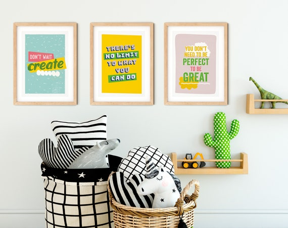 Set of 3 inspirational wall art prints, positive quote, motivational print, nursery print kids decor typography quote kids print nursery art