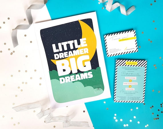 Little dreamer big dreams nursery print, Typography nursery print, Positive quote kids room wall art, Moon poster, Colourful wall decor