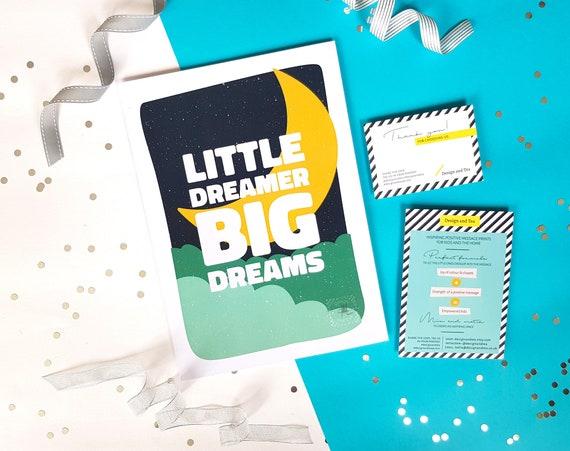 Inspirational Scandi nursery moon illustration print, Typography wall art, Positive quote kids room, Moon poster, Little dreamer big dreams