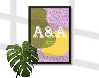 Personalised initials print, wedding anniversary engagement gift, bright leopard print typographic wall art, modern minimalist Scandi