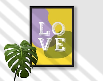 LOVE wall art print, typographic Scandi chic abstract modern minimalist, original stylish Wedding Engagement Anniversary gift - yellow