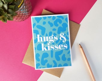 Hugs & kisses blue animal print greeting card, Colourful Bright Stylish Quirky Modern Leopard Print Card, Birthday card, Miss you Love you