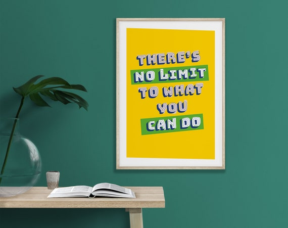 There's no limit print, Typography poster, Inspirational quote, Motivation print, Modern wall art, Illustration, Home décor, Empowering art