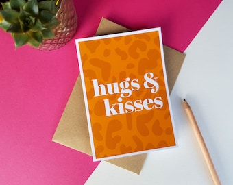 Hugs & kisses orange animal print greeting card, Colourful Bright Stylish Quirky Modern Leopard Print Card, Birthday card, Miss you Love you