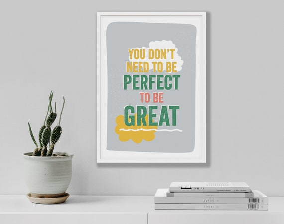 Motivational typographic woodblock retro print You don't need to be perfect, Typography poster, Inspiring quote, Teenager feel good wall art