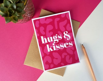 Hugs & kisses pink animal print greeting card, Colourful Bright Stylish Quirky Modern Leopard Print Card, Birthday card, Miss you, Love you