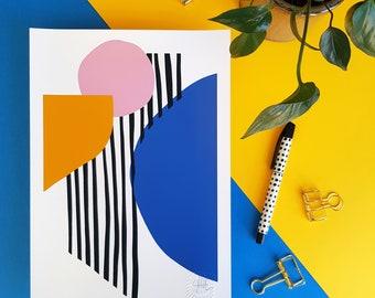 Abstract art, Lines and Circles /1 A4 A5 print bright geometric shapes wall art Scandi modern minimalist home decor blue pink yellow stripes