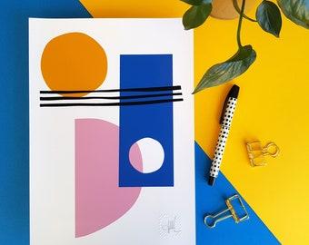 Abstract art, Lines and Circles/3 A4 A5 print bright geometric shapes wall art Scandi modern minimalist home decor blue pink yellow stripes