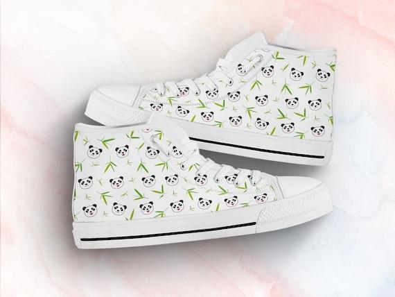 Panda Animal Print Shoes | Panda Sneakers | Cute Kawaii Clothing Custom High Top Sneakers For Adults Women & Men