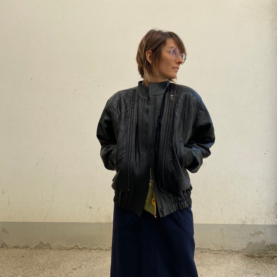 QUILTED BIKER 80s vintage leather jacket 80s women