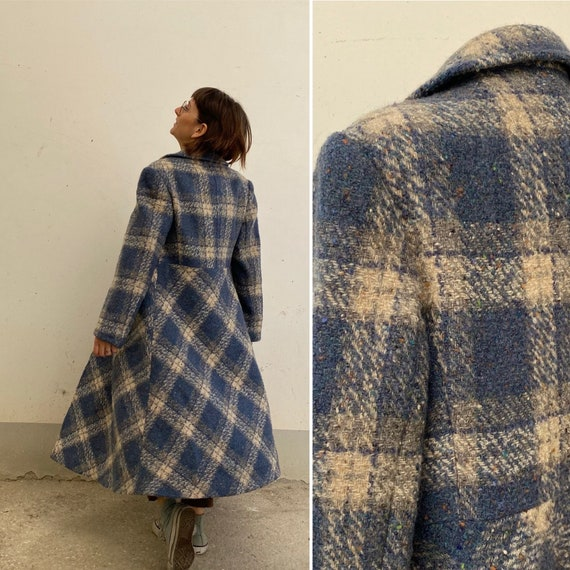 Celeste Tartan Vintage Mohair coat 70s /patterned