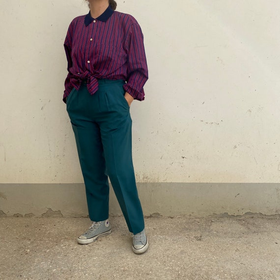 EMERALD SILK Size M Vintage trousers in pure high-