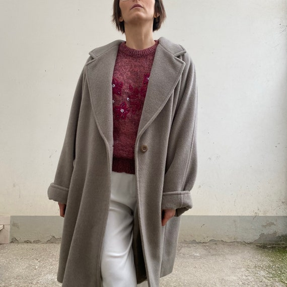 Marina Rinaldi vintage coat 80s grey / wool coat a