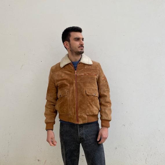 Vintage SUEDE BOMBER Jacket Shearling suede leathe