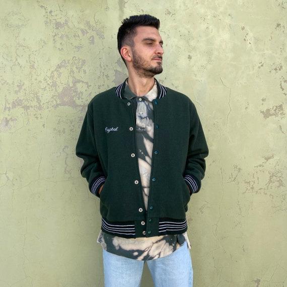 REEBOK Vintage wool bomber jacket, green Reebok me