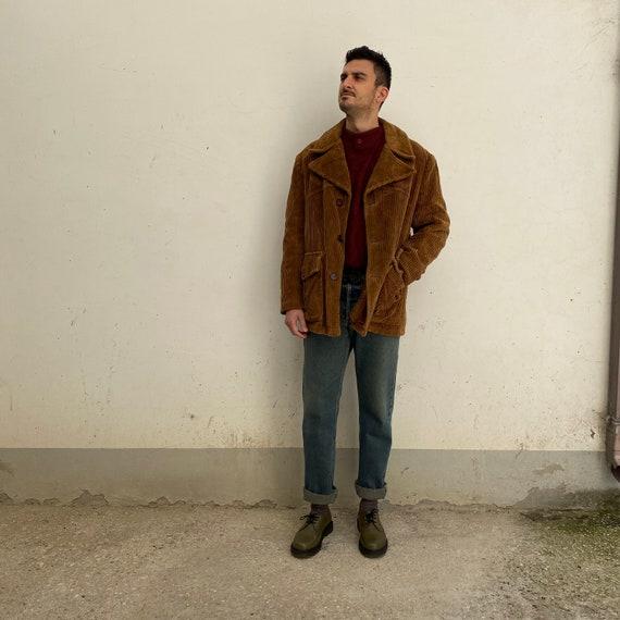 Corduroy Coat Vintage Men's Coat 70s Man's Jacket