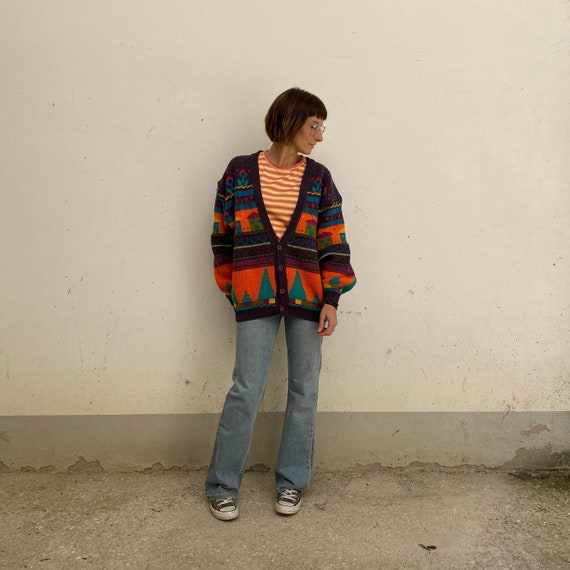 KNIT SWEATER Cardigan vintage sweater 70s cotton w