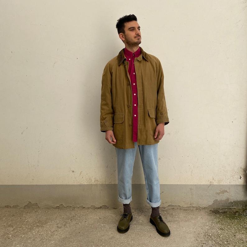 Vintage military jacket  Casual men/'s canvas jacket  vintage men/'s jacket 80s brown Vintage canvas jacket street wear brown tan