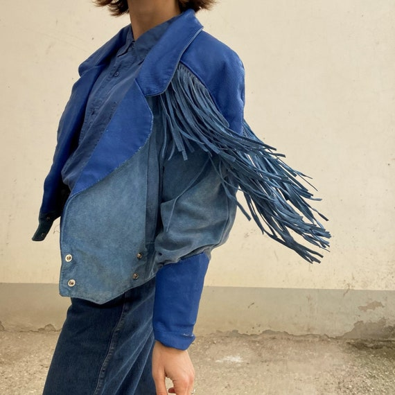 Fringed leather suede jacket Vintage suede leather