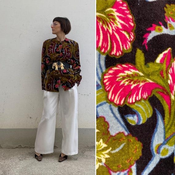 VELVET Vintage floral jacket 70s /Patterned women'