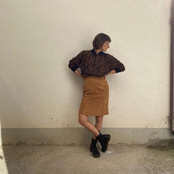Vintage suede skirt 70s Suede skirt Suede skirt /