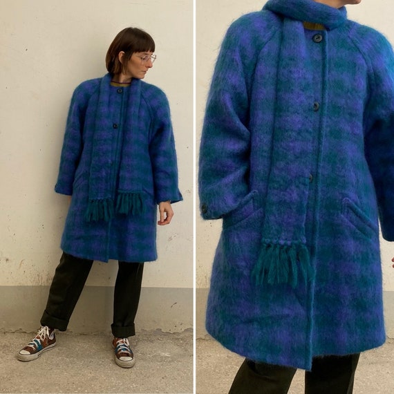 Mohair Celeste Vintage coat 80s /patterned wool an