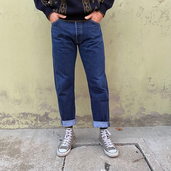 Jeans Levis 501 vintage 70s blue denim dark jeans