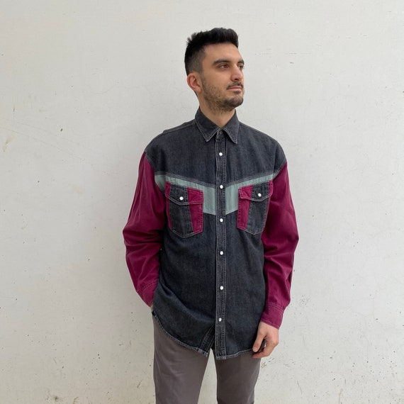 Purple colorblock denim Vintage 70s shirt vintage