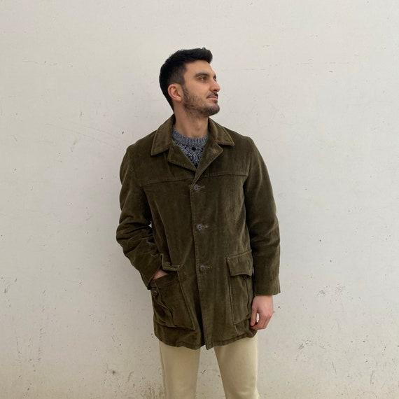Corduroy vintage coat / Vintage men's coat 70s rib