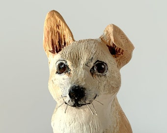 Clay dog portrait sculpture, an unusual and thoughtful handmade gift.