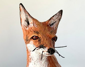 Clay fox sculpture, a handmade unusual gift, ships in days!