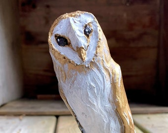 Clay barn owl sculpture, a handmade unusual gift which ships in days!