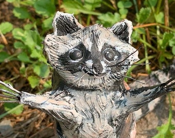 Clay raccoon sculpture, a handmade unusual gift which ships in days!