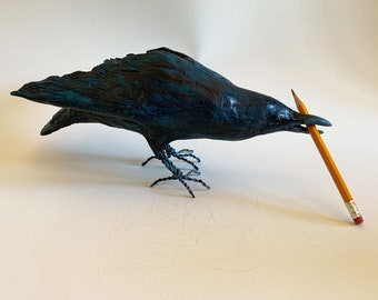 Raven sculpture, clay model, handmade with air dry clay, unusual gift, ships in days!