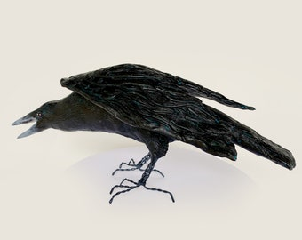 Clay raven sculpture, a handmade unusual gift which is made to order and ships within days.